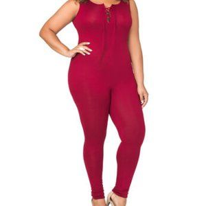 Plus Size Lace Up - Catsuit